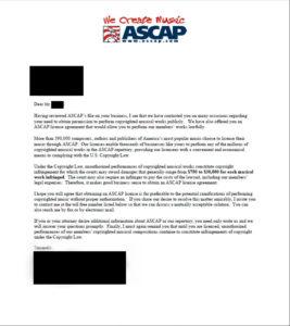 ASCAP DEMAND LETTER